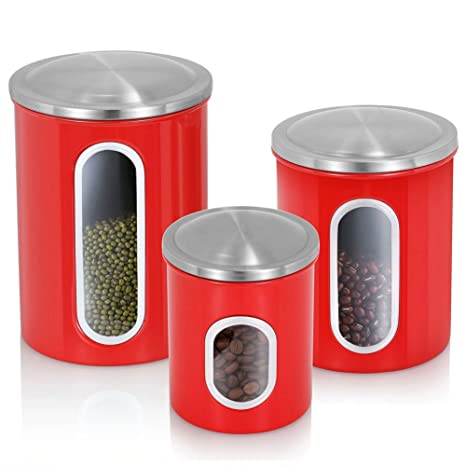 3 Piece Kitchen Canisters,Stainless Steel Canister Set,Nested Food Storage  Canisters With Airtight