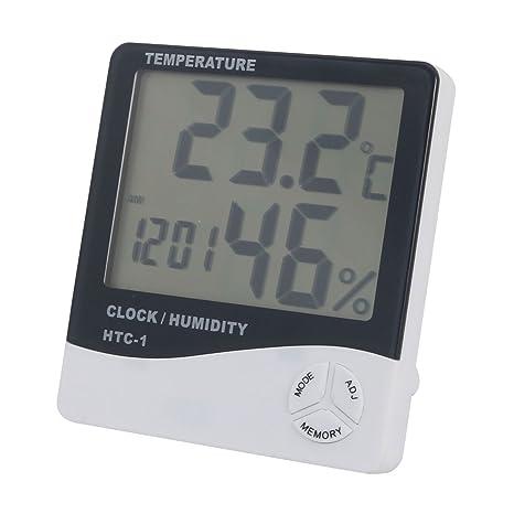 sourcing map Termómetro de Monitor Digital LED Humedad Temporizador w Memoria higrómetro-Reloj
