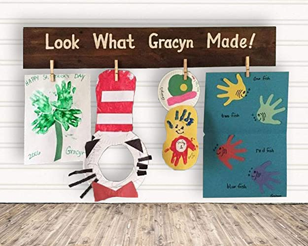 Amazon Com Personalized Kids Artwork Display Look What Made Wood