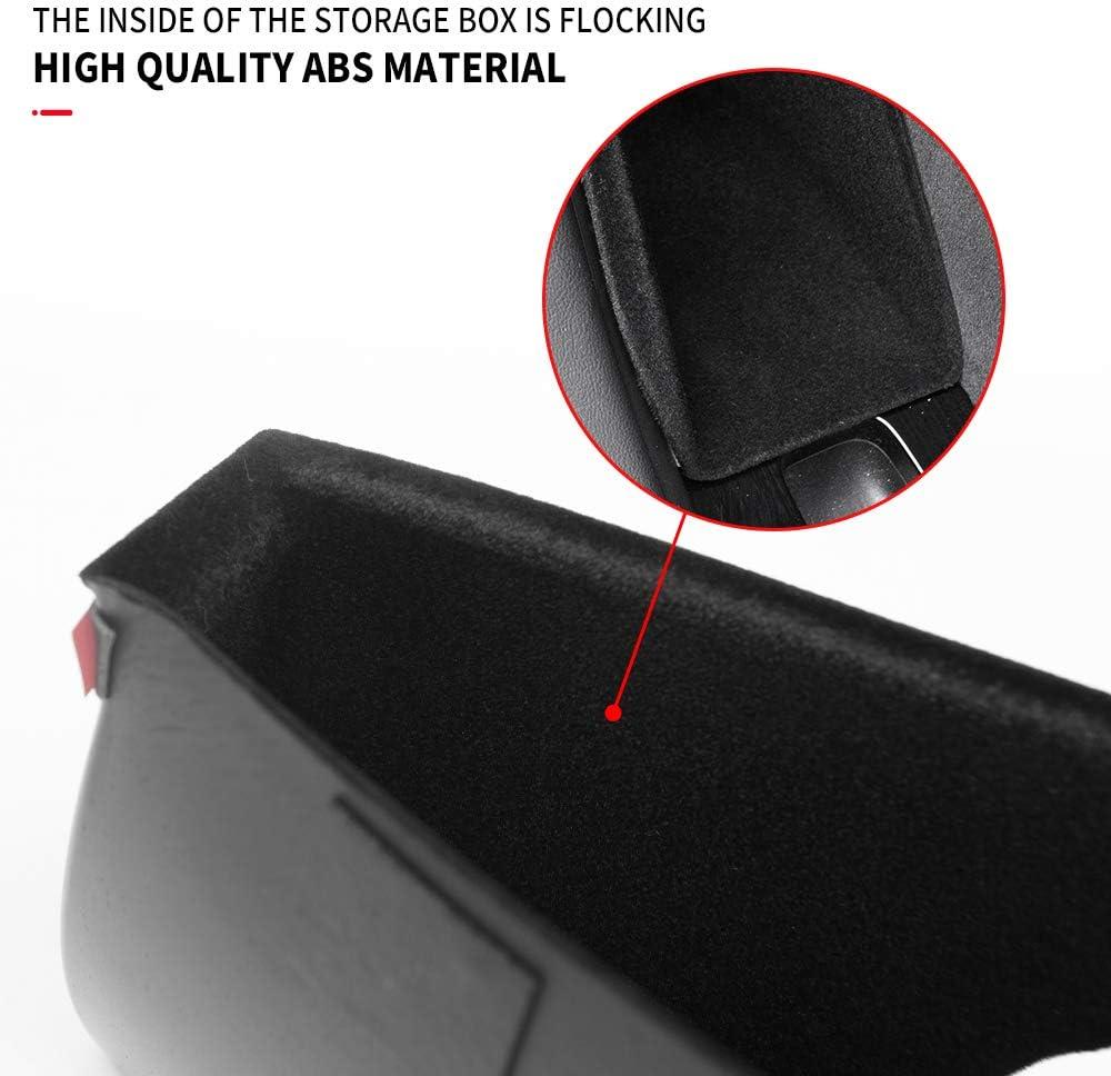 Black Flocking Xipoo Model 3 Door Side Storage Box Handle Pocket Tray Armrest Phone Container Kit for Tesla Model 3 Accessories 4PCS