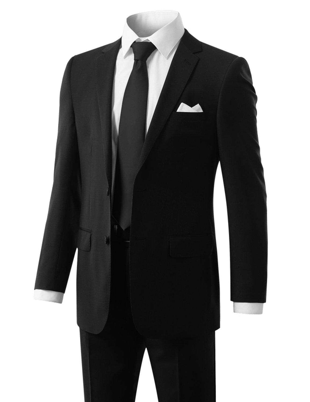 MONDAYSUIT Men's Modern Fit 2-Piece Suit Blazer Jacket & Trousers BLACK 50R 45W by MONDAYSUIT (Image #1)