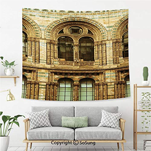 SoSung Urban Wall Tapestry,Historical Architecture European City Building in London British Culture Art Photo Print,Bedroom Living Room Dorm Wall Hanging,60X50 Inches,Sepia