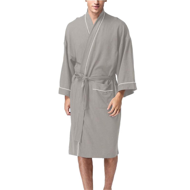 Mens Shawl-Collar Coral Flannel Bath Robe Winter Autumn Casual Nightgown Long Bathrobe Men Sleepwear Robes