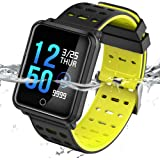 TECKEPIC Fitness Tracker N88 Color Screen Activity Tracker with Heart Rate Monitor IP68 Waterproof Wristband Bluetooth Pedometer Smart Bracelet for Men Wonmen Kids (Yellow & Black)