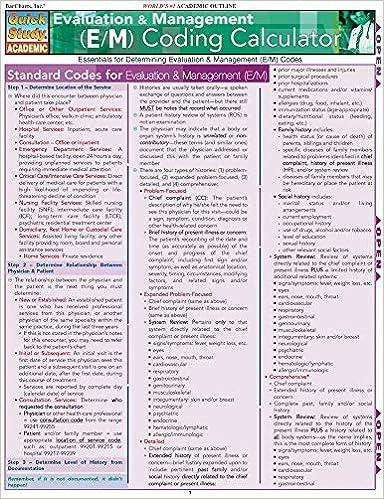 Evaluation Management E M Coding Calculator Quickstudy