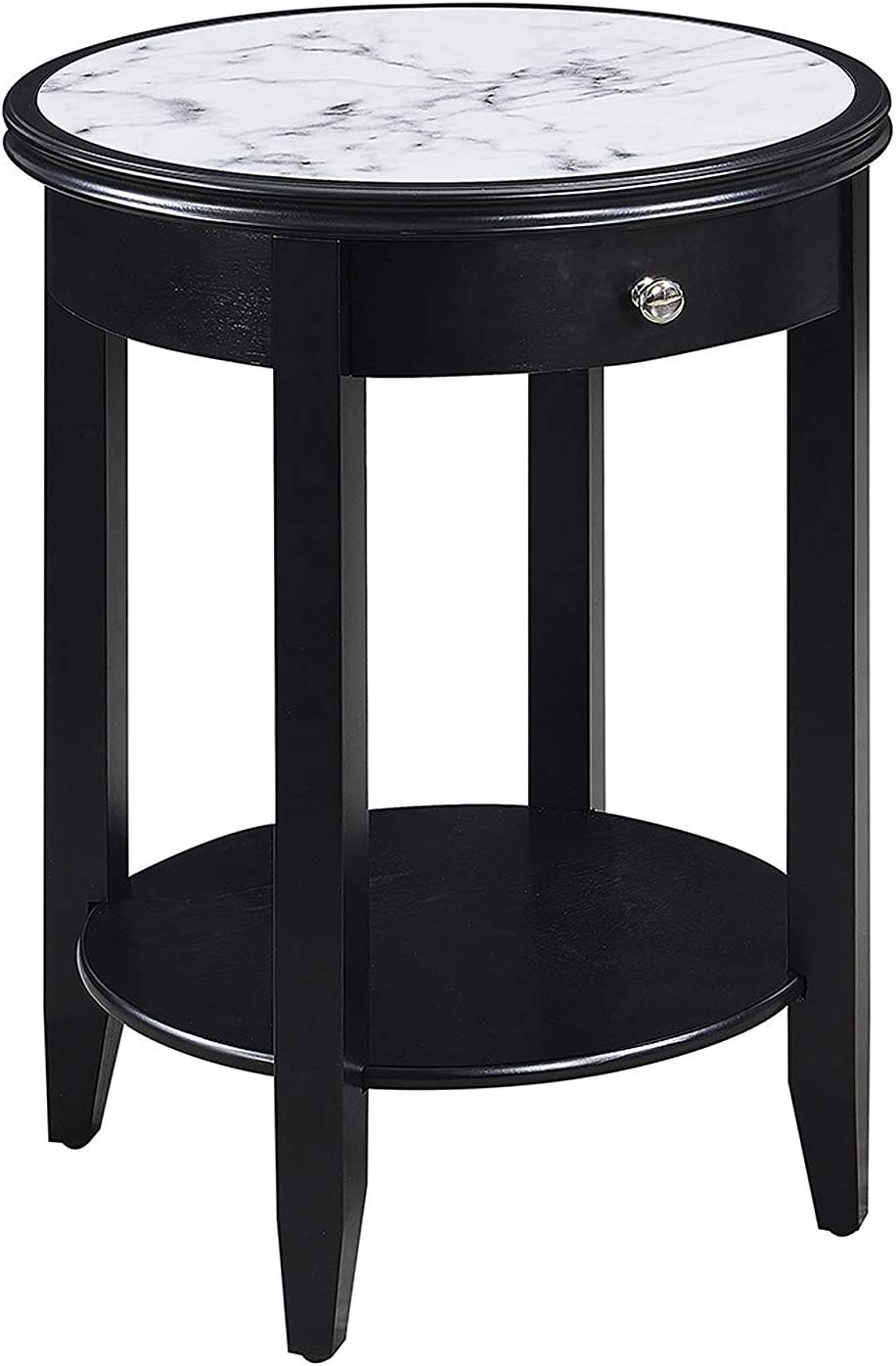Convenience Concepts American Heritage Baldwin End Table with Drawer, White Marble / Black