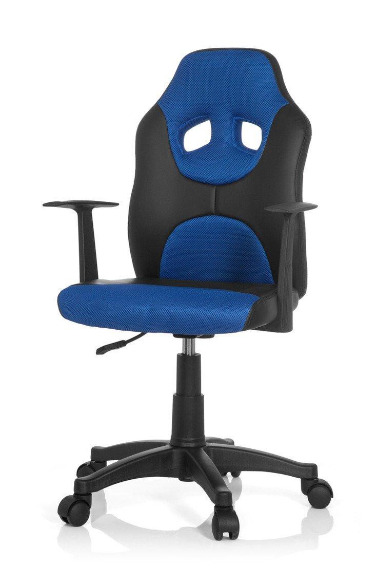 Hjh Hjh Hjh OFFICE 670800 Kinderschreibtischstuhl KID RACER AL Kunstleder Schwarz-Blau Drehstuhl mit Armlehne höhenverstellbar 3b1376