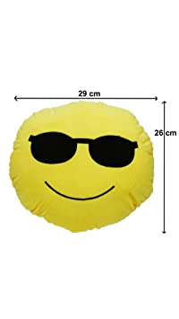 Aarushi Stuffed Soft Cool Smiley Cushion for Kids Yellow Colour