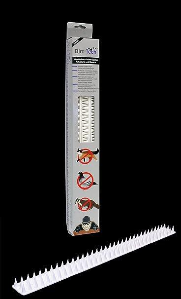 5 Mt Pinchos Anti-aves y anti-gatos 10 Piezas de 50cm Polipropileno anti UV (Blanco)