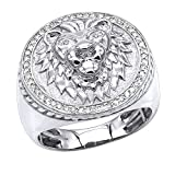 Luxurman 10K Rose, White or Yellow Solid Gold Lion Head Diamond Ring for Men Pinky Rings 0.3ctw