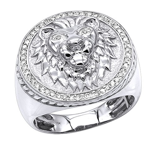 10K Solid Gold Lion Head Diamond Ring for Men Pinky Rings 0.3ctw (White, Size ()