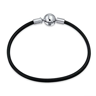 dfb5c62a1 Amazon.com: Starter Black Genuine Leather Bracelet For Women Teen Fits  European Beads Charm 925 Sterling Silver Barrel Clasp 7 Inch: Jewelry