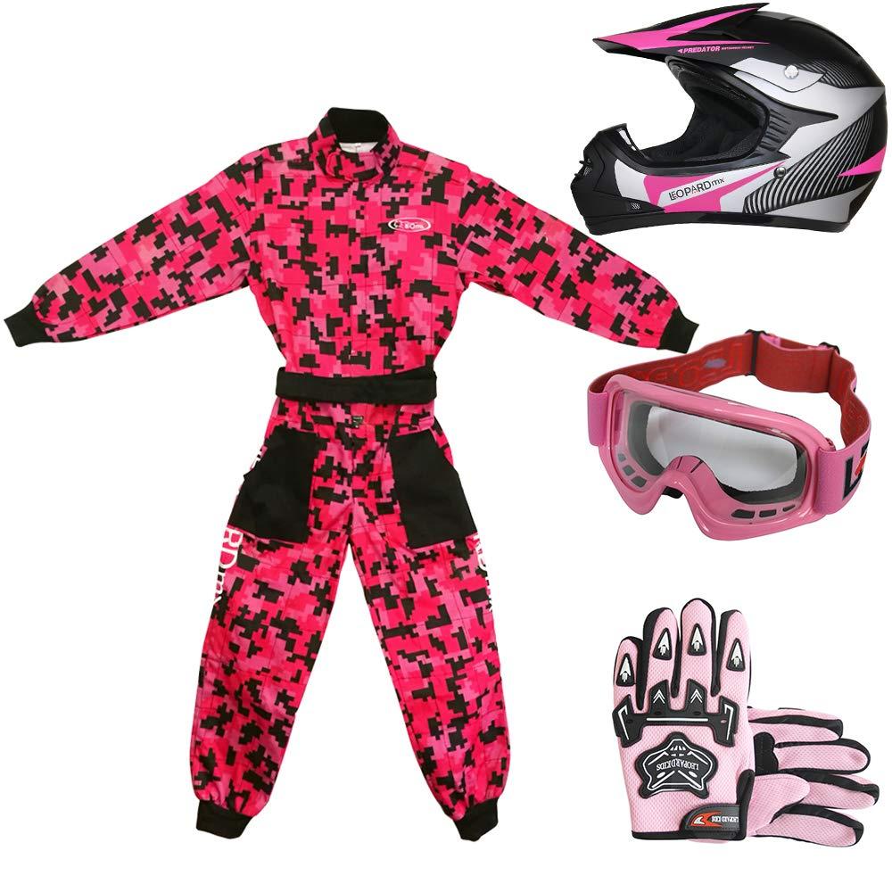 + Camo Traje de Motocross para Ni/ños Leopard LEO-X19 Azul Casco de Motocross para Ni/ños S 5cm XL 11-12 A/ños S 49-50cm Guantes + Gafas