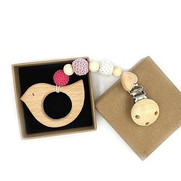 Coskiss Bebé de madera Chupete clip colgante de madera natural de la dentición masticable de seguridad para bebé Holder regalo unisex juguetes para la ...