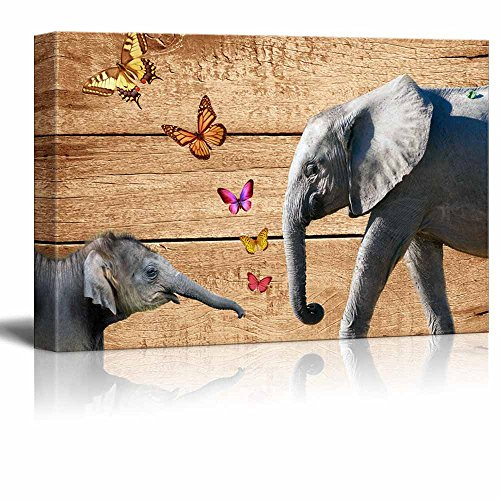 wall26 - Rustic Canvas Wall Art - Elephants and Butterflies on Vintage Wood Background - Giclee Print Modern Wall Decor | Stretched Gallery Wrap Ready to Hang Home Decoration - 16x24 inches (Elephant Frame)