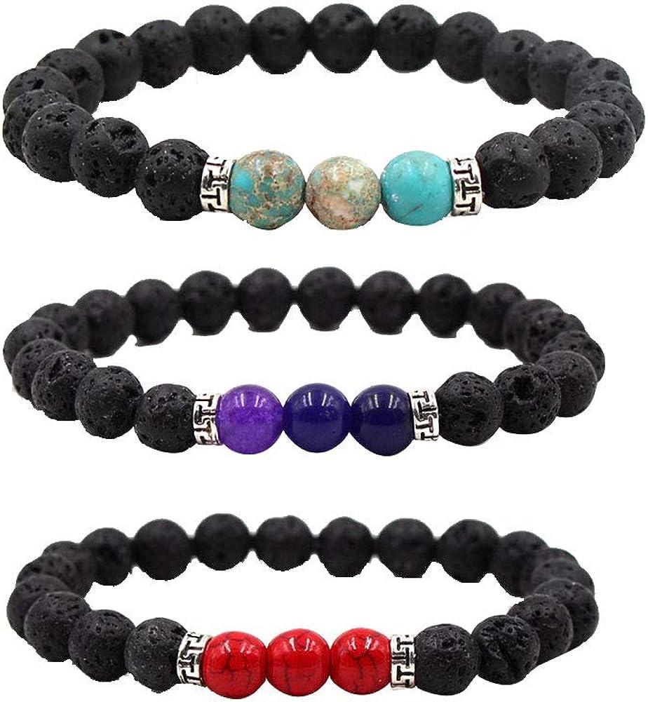 Roca de la lava chakras difusor pulseras Cuentas de piedra natural de Yoga brazaletes con cuerda elástica con estilo de pulsera Joyas para hombres, mujeres-Púrpura + luz azul + rojo Imperial Jasper