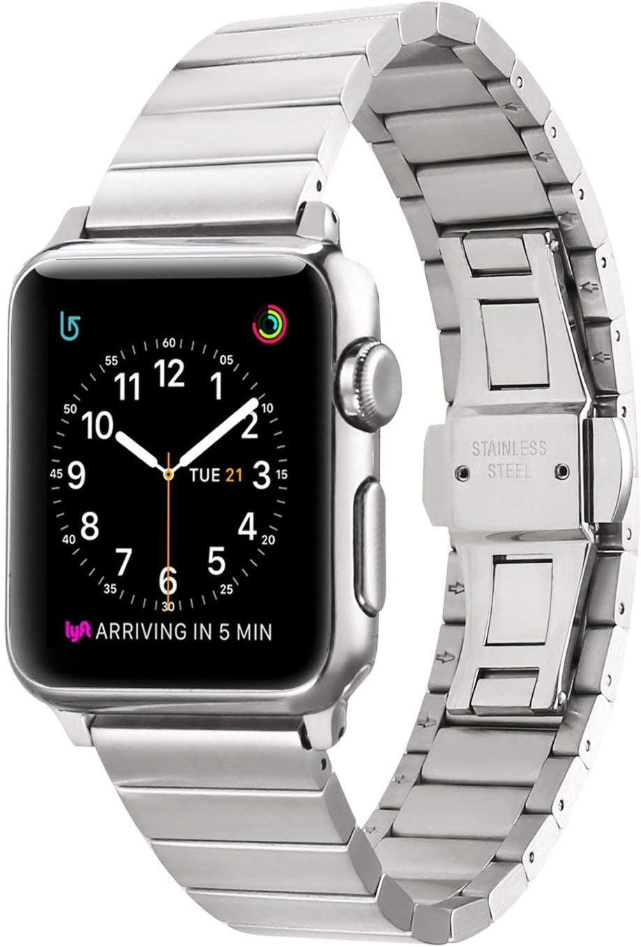 SaNgaiMEi Compatible with Apple Watch Band Series 40mm 38mm, Stainless Steel iWatch Band with Series 6 Series 5 Series 4 Series 3 Series 2 Series 1 Strap Men