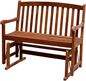 Merry Garden 2-Person Glider Bench Wooden Bench for Outdoor Patio Garden Dining, Stained