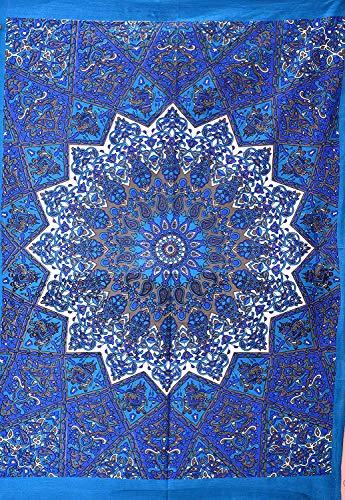 ANJANIYA Star Mandala Beautiful Bohemian Room Dorm Decor Hippie Indian Tie Dye Small Boho Tapestry Psychedelic Poster Size 40x30 Mandala Wall Hanging Art Cotton Gypsy Posters (Blue, 30x40)