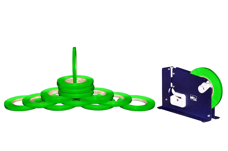 Poly Bag Sealer Tape 3/8'' x 180 Yards with Dispenser Green Color 6 Rolls