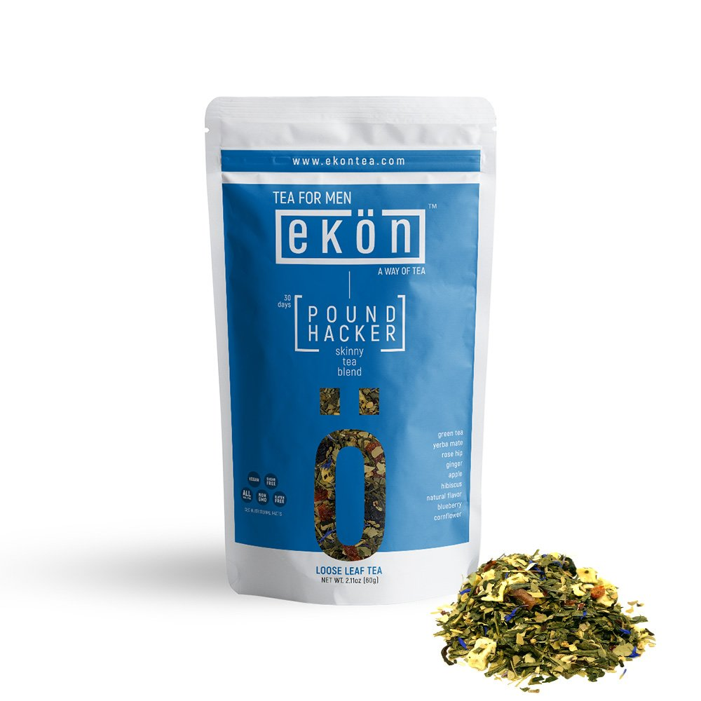 Weight Loss Tea POUND HACKER by ekön | Boosts Energy, Reduces Blood Sugar & Promotes Healthy Digestion | Inspired for Men, Loved by Women with touches of Ginger, Blueberry, Yerba Mate | 30 day Supply