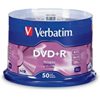 Verbatim DVD+R 4.7GB 16X AZO Recordable Media Disc - 50 Disc Spindle, Silver - 95037