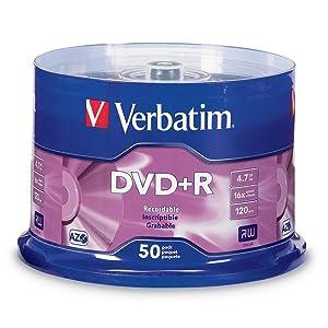 Verbatim 95037 DVD+R 4.7GB 16x AZO Recordable Media Disc - 50 Disc Spindle
