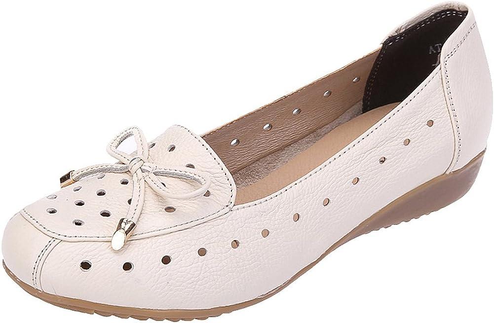 Jamron Mujer Piel Genuina Comodidad Zapatos Suela Blanda Bailarinas Talón de Cuña Baja Pantuflas