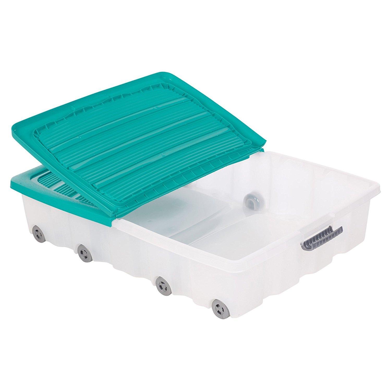 Set de 2 cajas de almacenamiento para debajo de la cama, hechas de plástico, con ruedas y tapa, plástico, Morado, Large (70L): Amazon.es: Hogar