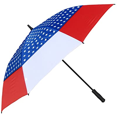 60%OFF RainStoppers Auto Open Windbuster Umbrella with USA Flag Canopy, 60-Inch