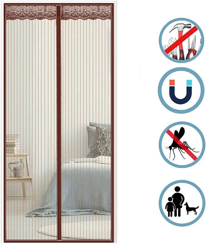 Moustiquaire Enroulable Moustiquaire sur Mesure de Porte Fermeture Automatique pour Couloirs Rideau Aimant/é pour 85x200cm 33x79inch Portes Gris