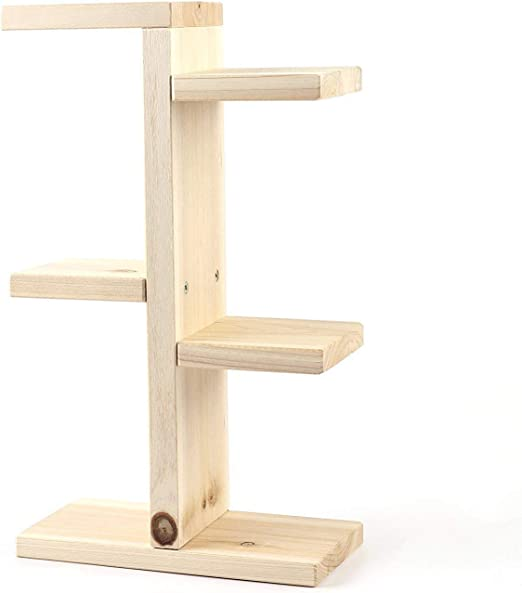 Madcg Pequeño estante de escalera de madera Mini soporte de flores ...