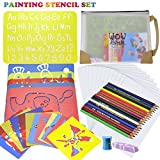 Drawing Stencil Art Set, SGONE Stencil for Kids 58 Pieces Craft Travel Creativity Kit for Boys and Girls, Educational Toy Age 3+, Ideal Kids Gift