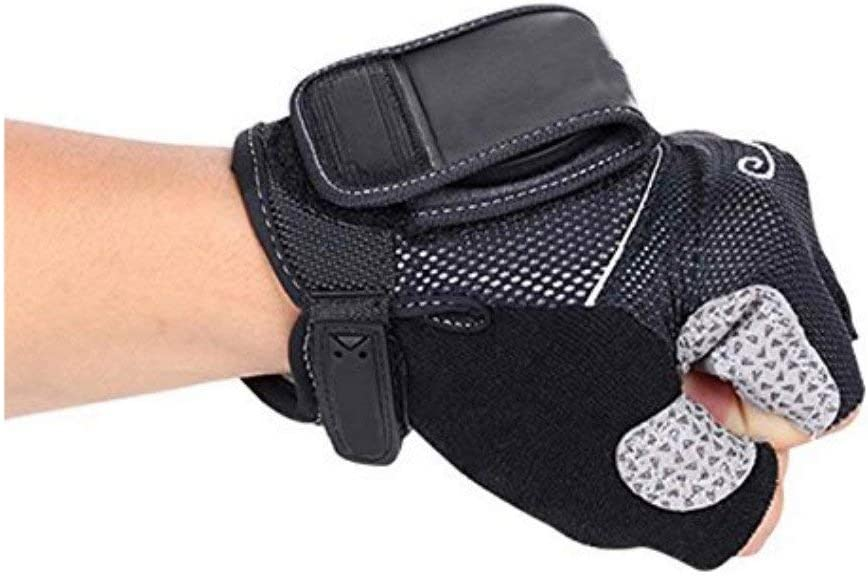 Biking Riding Bicycle Wrist Safety Half Finger Gloves with Reflective Back Mirror Inf-way Rearview Mirror Cycling Gloves