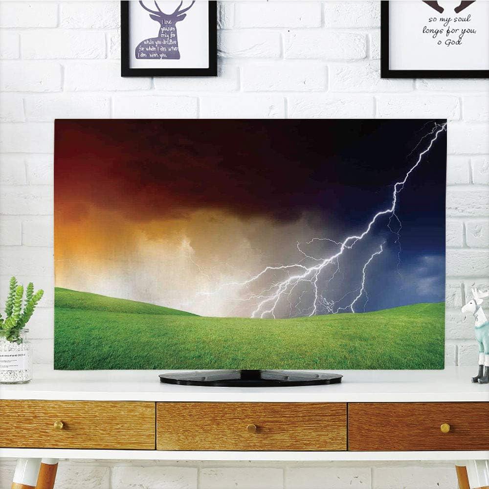 Funda para televisor LCD, decoración de casa del lago, vista majestuosa en la ciudad costera en la oscuridad noche de tormentas con nube de lluvia gigante y flash fotografia, multicolor, diseño de