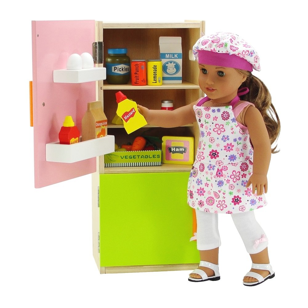 Emily Rose 18 inch Doll Accessories | Wooden 18 Inch Doll Kitchen Refrigerator with Freezer, Includes 20 Colorful Wooden Pretend Food Accessories | Fits American Girl Dolls