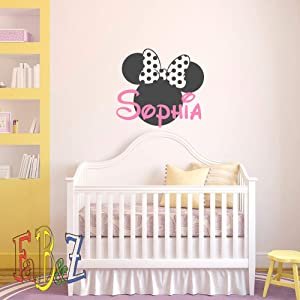 Personalized Baby Name Vinyl Wall Decal Decor Minnie Mouse Custom Decals Murals Cartoon Vinyl Stickers Kids Baby Girls Room Nursery Vinyl Wall Art Decor Made in USA