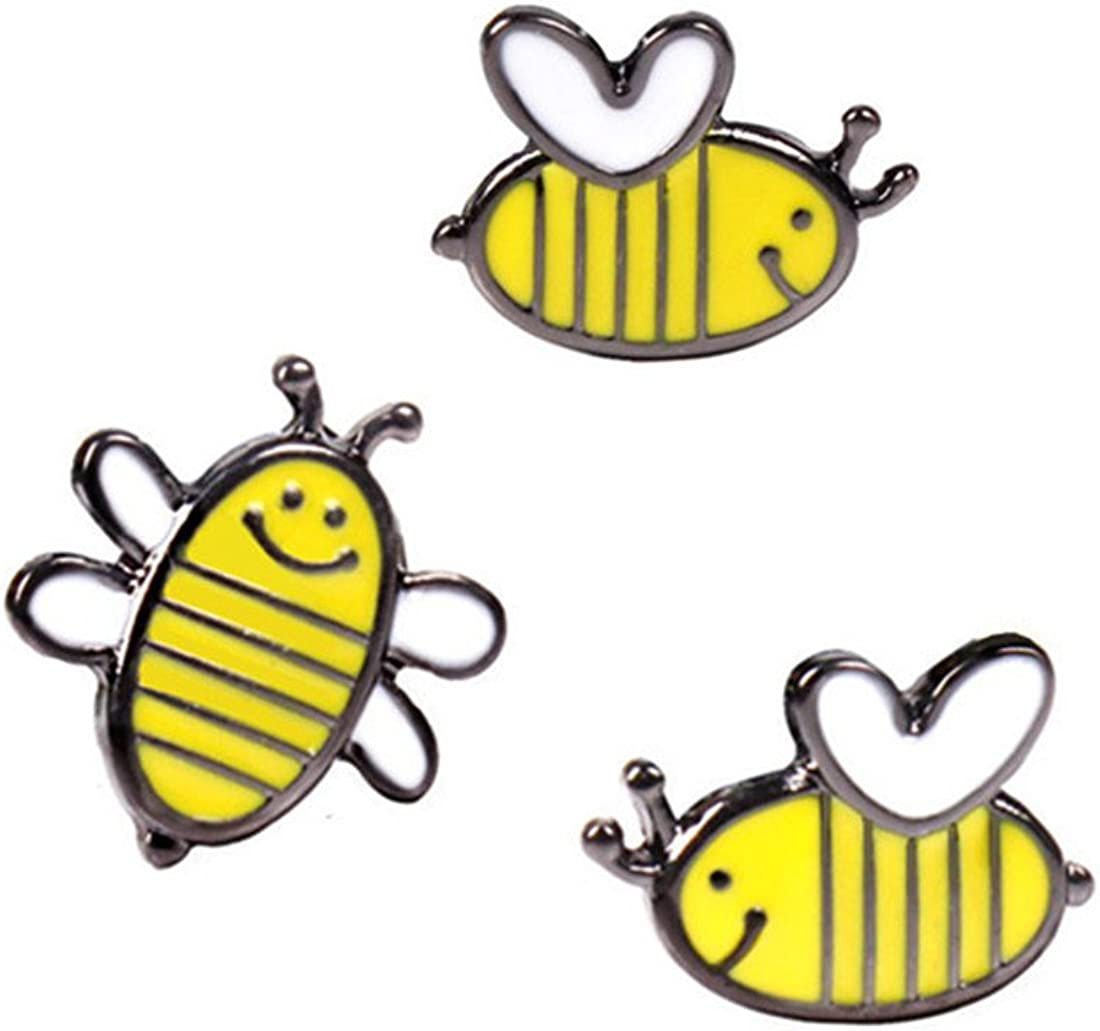 WINZIK Novelty Brooch Pin Set 3pcs Pretty Cute Bees Pattern Enamel-liked Lapel Pins Set Badges for Unisex Child Women Girls Clothes Bags Decor