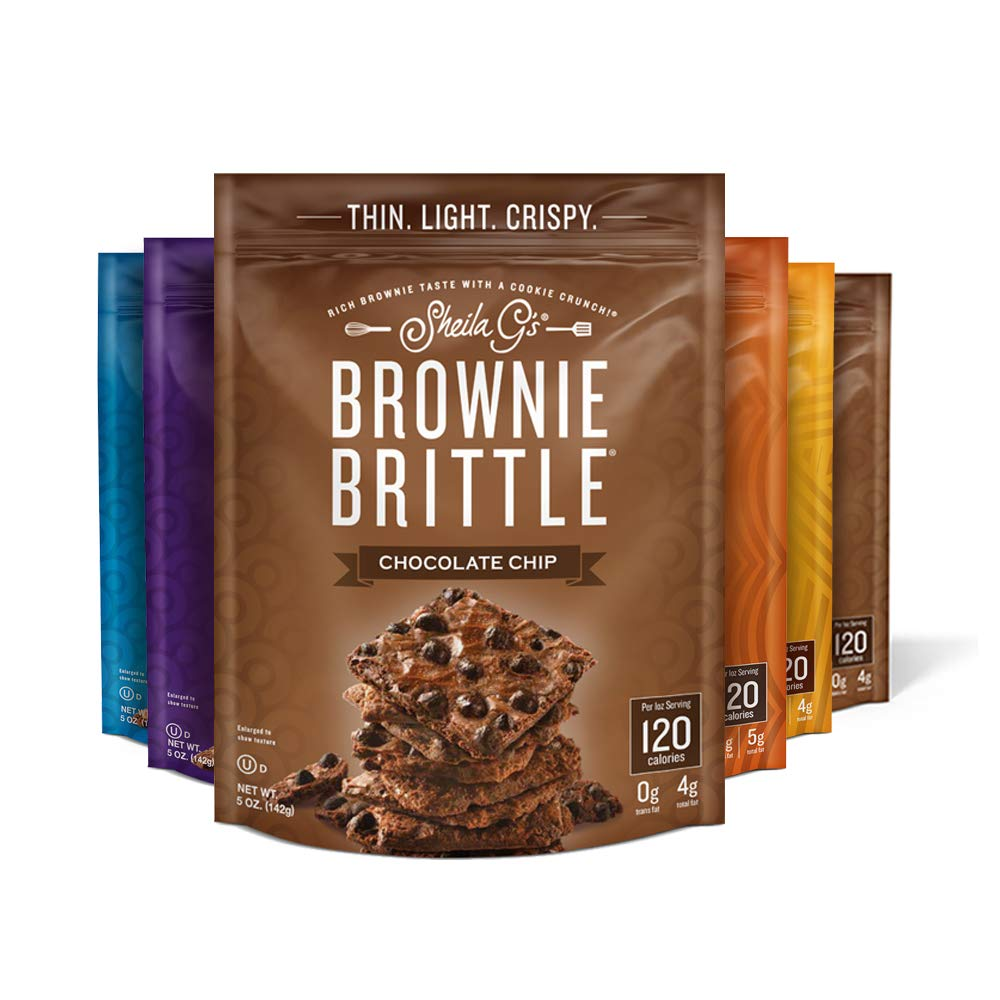 Brownie Brittle, Variety Pack, 5 Oz Bag (Pack of 6), The Unbelievably Rich and Delicious Chocolate Brownie Snack with A Cookie Crunch (Packaging May Vary)