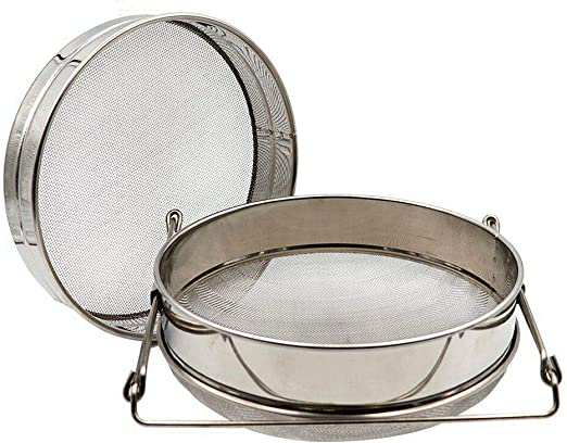 Stainless Steel Double Sieve Honey Strainer Food Filter with Extendable Arms