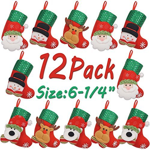 (LimBridge 12pcs Mini Christmas Stockings Gift & Treat Bag, for Favors and)
