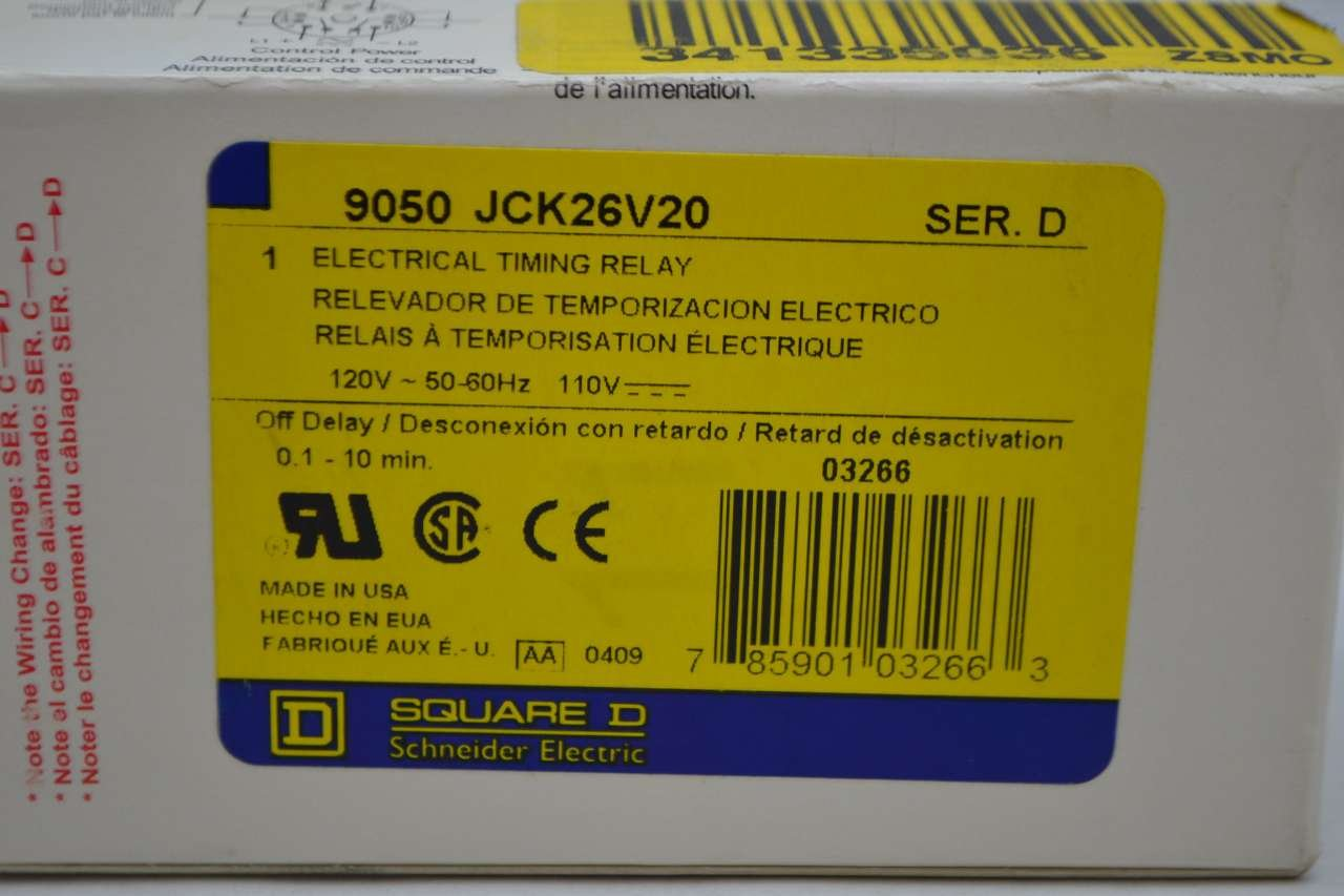 Square D 9050JCK26V20 Off Delay Solid State Timing Relay 10 Amp 120 Volt 0.1-10 Minutes Schneider Electric