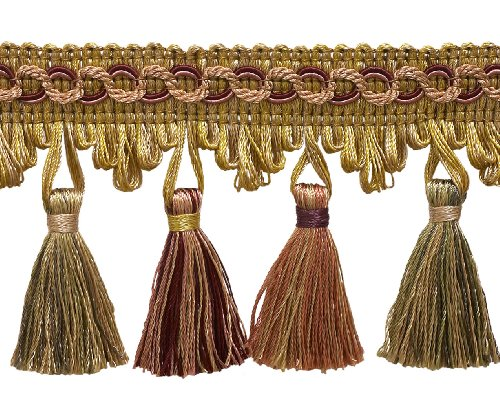 DecoPro 5 Yard Value Pack of Cherry Red, Beige, Green 2 3/4 Imperial II Tassel Fringe Style# NT2502 Color BERRY PATCH - 4260 (15 Ft/4.5 - Red Patch 15'