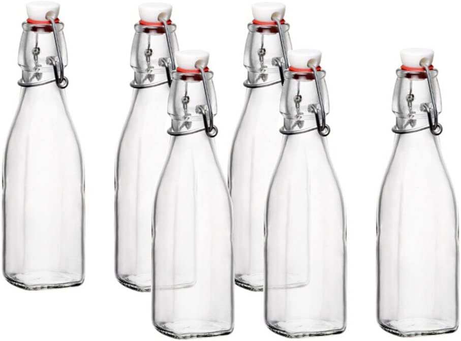 Bormioli Rocco Glass 8.5 Ounce Swing Top Bottle, Set of 6