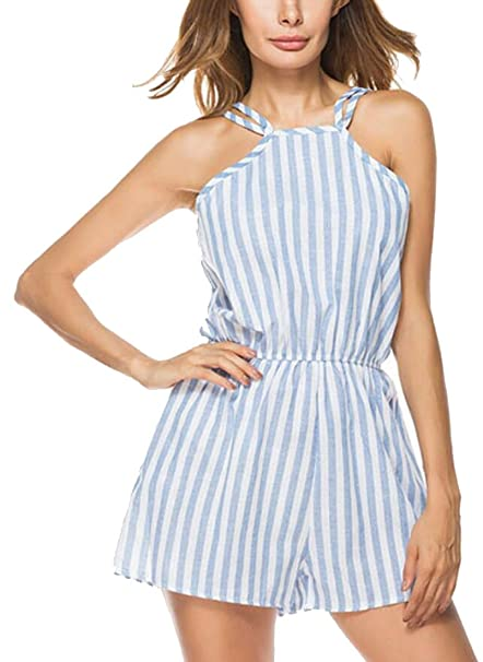 cb8613b28cb9 Be Loved Beloved Women¡¯s Halter Vertical Stripes Casual Drawstring  Sleeveless Fashion Sexy Beach