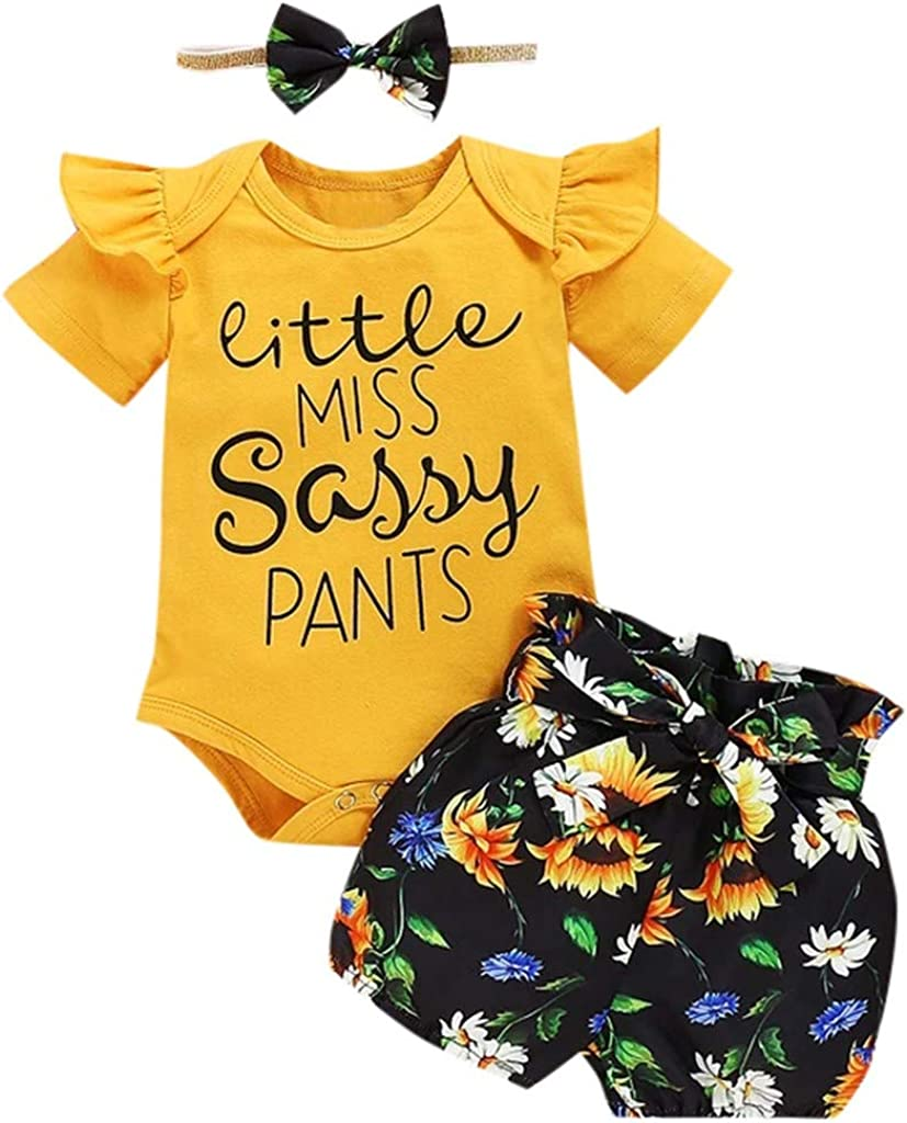SIN+MON Baby Frilled Flying Sleeve Romper + Flower Print Shorts + Hair Band Three Pieces Clothing Set