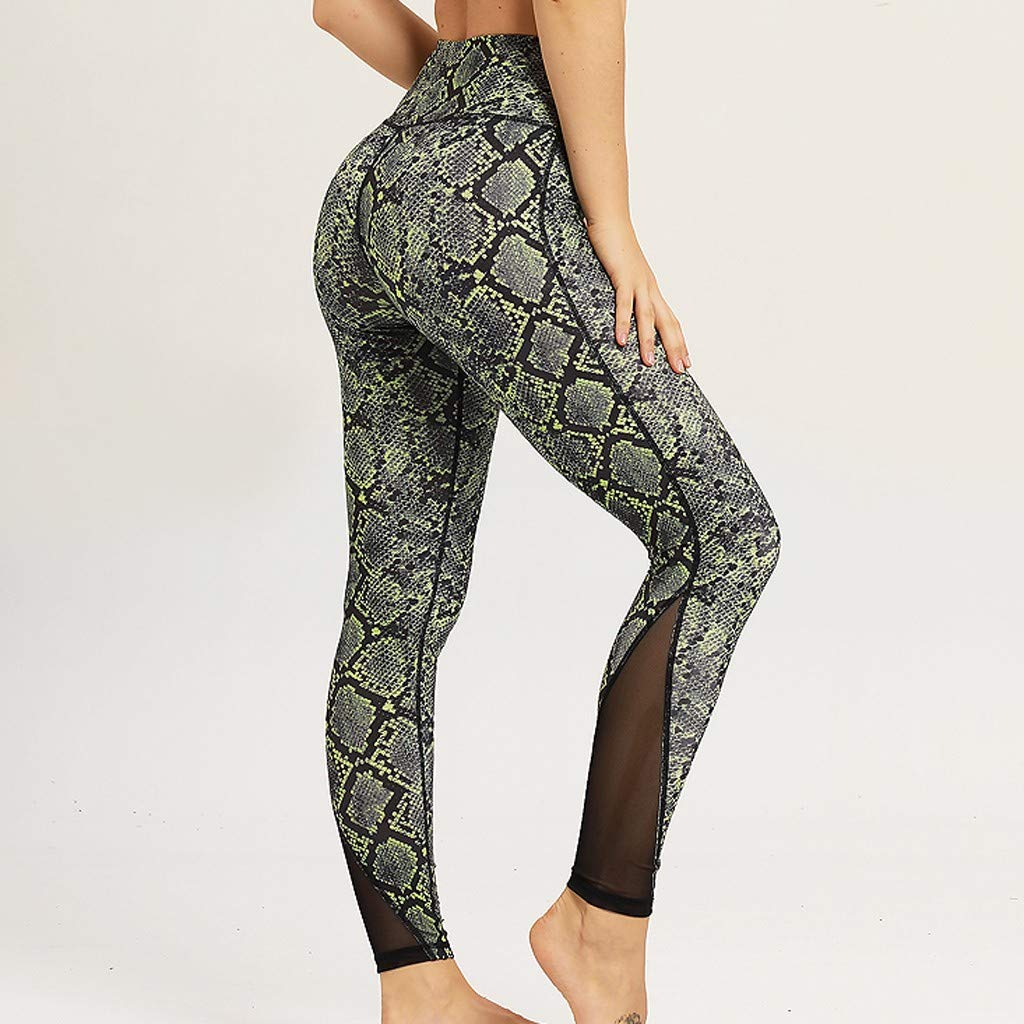 4Clovers Womens Leggings Gym Sportswear Yoga Pants Snakeskin Workout Running 4 Way Stretch Training Fitness Tights