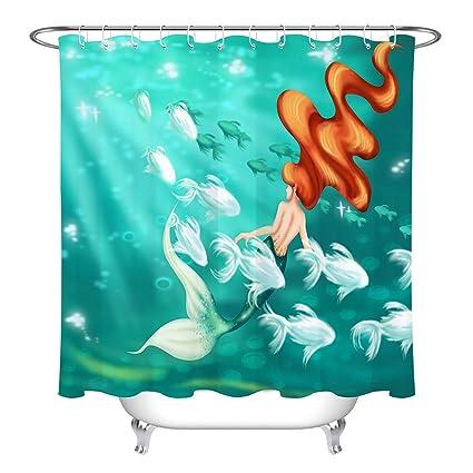 LB Mermaid Shower CurtainHot Fantasy In Lake With Colorful Fish Ocean Curtain