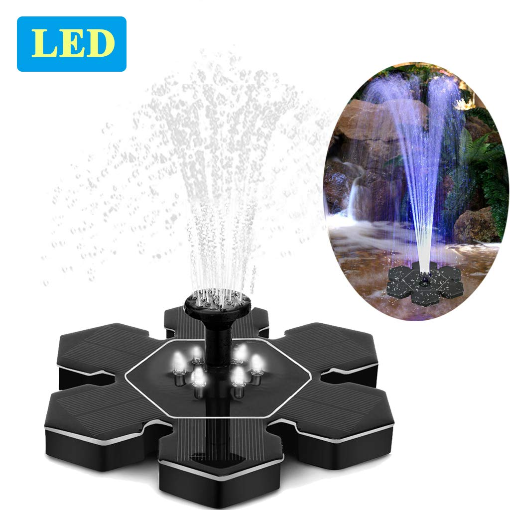 Solar Fountain Pump with LED Lights, Snowflake Shape 2.4W Free Standing Bird Bath Fountain Water Pump, Outdoor Floating Fountain Pump Kit for Garden, Pool, Pond, Patio Ideal Decoration, 8.7'' Diameter