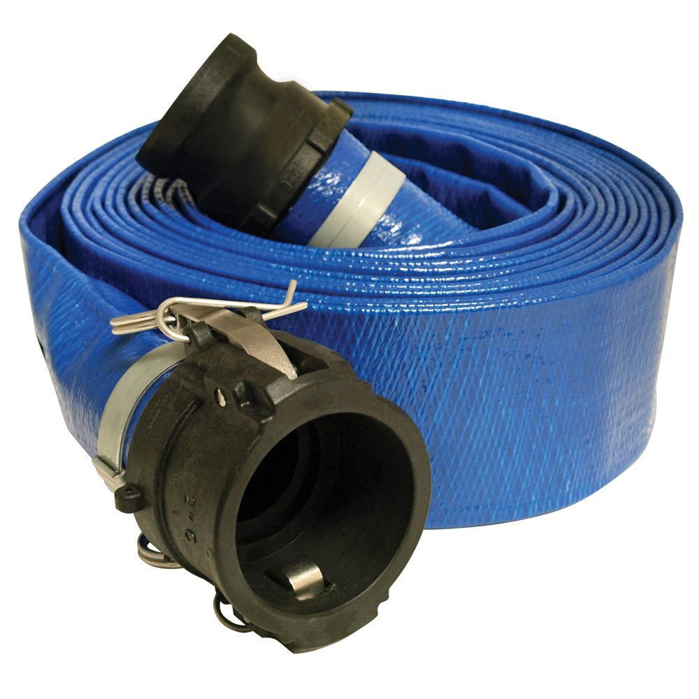 Apache 98138066 3'' x 50' Blue Standard-Duty PVC Lay-Flat Discharge Hose with Poly Cam Lock Fittings